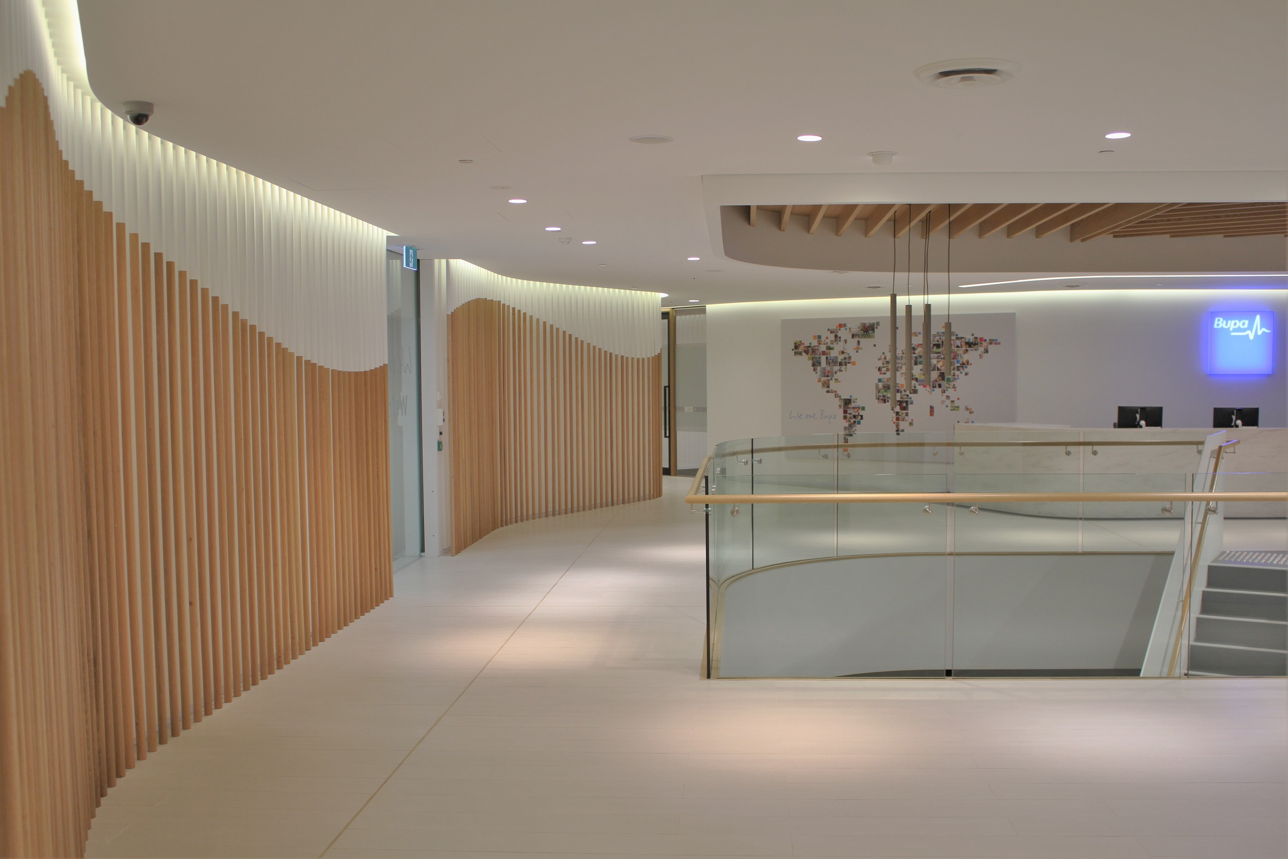 Bupa reception fitted with Acoustic Panels